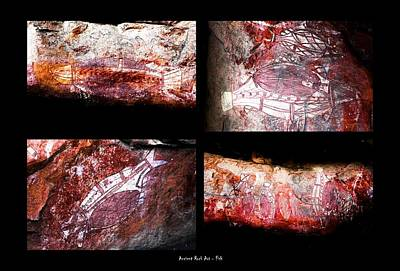Photograph - Ancient Rock Art - Fish - Kakadu National Park by Lexa Harpell