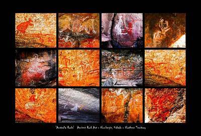 Photograph - Ancient Rock Art - Montage #2 - Kakadu National Park by Lexa Harpell