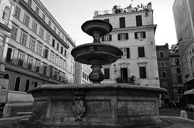 Photograph - Ancient Roman Piazza Fountain Urban Street Scene Black And White by Shawn O'Brien