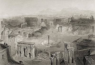 Archaeology Drawing - Ancient Rome From The Capitoline Hill by Vintage Design Pics