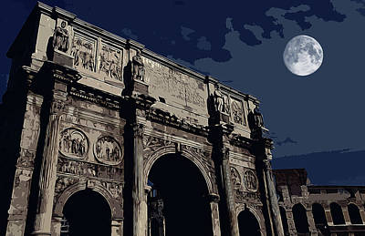 Painting - Ancient Rome - Triumphal Arch Of Constantine At Night by Andrea Mazzocchetti
