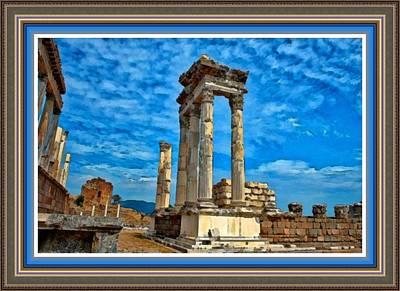Ancient Ruins Against A Blue Sky L B With Alt. Decorative Ornate Printed Frame. Art Print by Gert J Rheeders