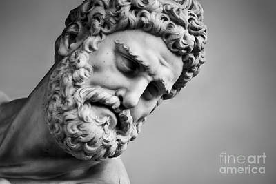 Face Photograph - Ancient Sculpture Of Hercules And Nessus. Florence, Italy by Michal Bednarek