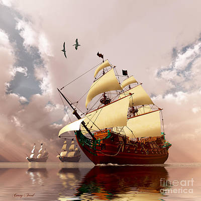 Speed Boat Painting - Ancient Ships by Corey Ford