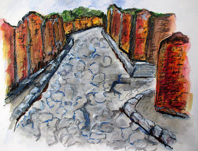 Painting - Ancient Street, Pompeii by Clyde J Kell