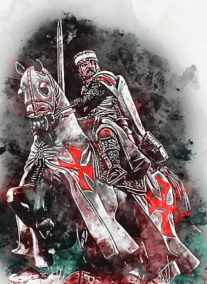 Painting - Ancient Templar Knight - Watercolor 02 by Andrea Mazzocchetti