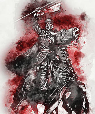 Painting - Ancient Templar Knight - Watercolor 03 by Andrea Mazzocchetti