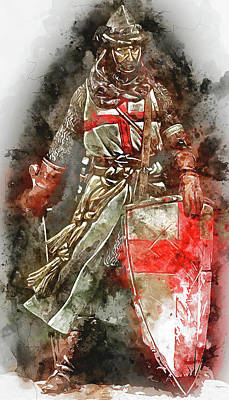 Painting - Ancient Templar Knight - Watercolor 04  by Andrea Mazzocchetti