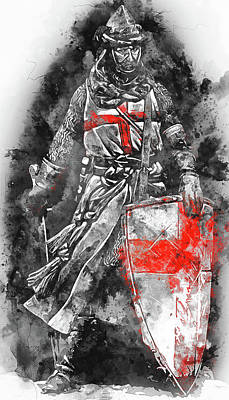 Painting - Ancient Templar Knight - Watercolor 05 by Andrea Mazzocchetti