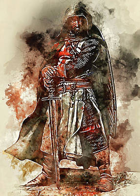 Painting - Ancient Templar Knight - Watercolor 06  by Andrea Mazzocchetti