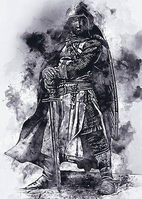 Painting - Ancient Templar Knight - Watercolor 07 by Andrea Mazzocchetti