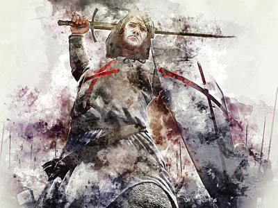 Painting - Ancient Templar Knight - Watercolor 09 by Andrea Mazzocchetti