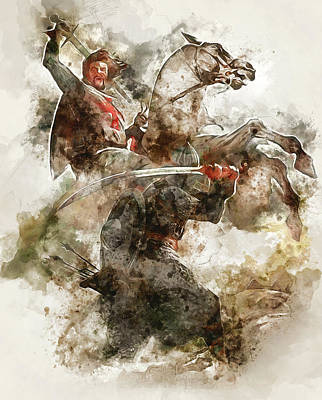 Painting - Ancient Templar Knight - Watercolor 10 by Andrea Mazzocchetti