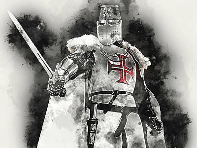 Painting - Ancient Templar Knight - Watercolor 11 by Andrea Mazzocchetti