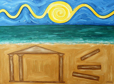 Abstract Beach Landscape Painting - Ancient Temple by Patrick J Murphy