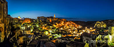 Basilicata Photograph - Ancient Town Of Matera At Dusk, Basilicata, Southern Italy by JR Photography