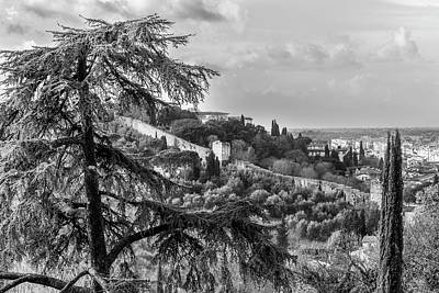 Photograph - Ancient Walls Of Florence-bandw by Sonny Marcyan