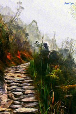 Cloudy Day Painting - Ancient Way - Pa by Leonardo Digenio