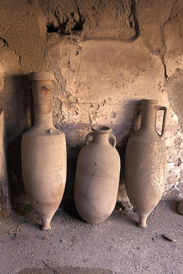 Ancient Wine Clay Vases  In A Wine Art Print by Richard Nowitz