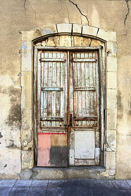 Photograph - Ancient Wooden Door In Old Town. Limassol. Cyprus by George Westermak