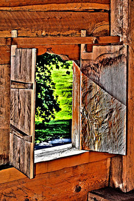 Ancient Wooden Window.  Original