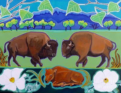 Bison Digital Art - And Baby Makes Three by LWren Walraven