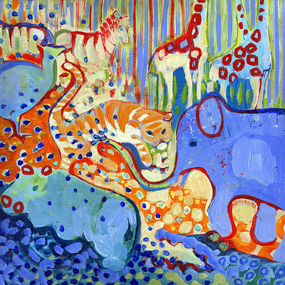 Zebra Art Painting - And Elephant Enters The Room by Jennifer Lommers