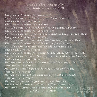 And So They Missed Him Print by Sharon Elliott