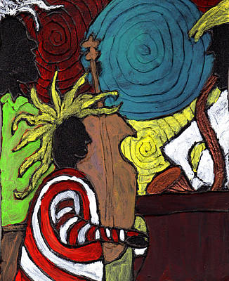 Saxaphone Painting - and the Band Played On by Wayne Potrafka
