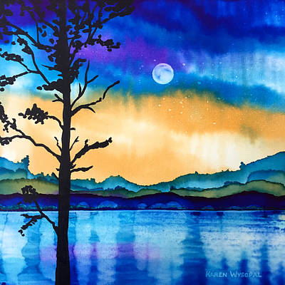 Painting - And The Moon Rose Again by Karen Wysopal