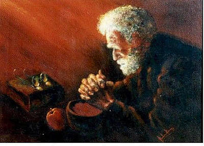 Painting - And The Old Man Prayed by Barbara Lemley