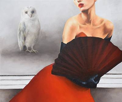 Oil Painting - And The Owl Wished Everything Was White by Trisha Lambi