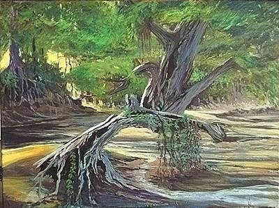 Painting - And The River Flows by John L Campbell