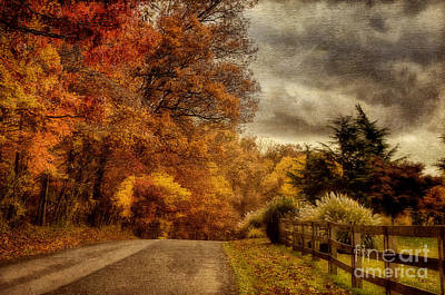 Country Road Digital Art - And The Seasons They Go Round And Round by Lois Bryan