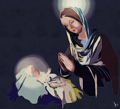 Nativity Digital Art - And The Word Became Flesh by Jennifer Buerkle