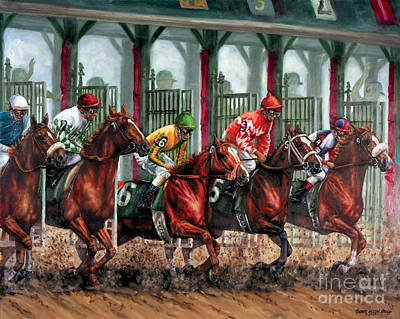 Jockeys Painting - And They're Off by Thomas Allen Pauly