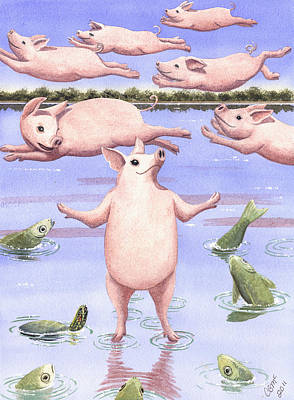 Flying Pig Painting - And Walk On Water by Catherine G McElroy