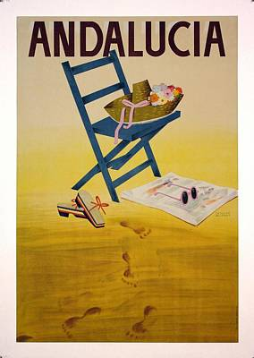 Royalty-Free and Rights-Managed Images - Andalucia, Spain - Deckchair with Retro Hat, Shoes, Sunglass - Retro travel Poster - Vintage Poster by Studio Grafiikka