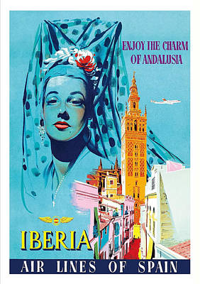 Senorita Digital Art - Andalusia Seville Cathedral Iberia Vintage Airline Travel Poster by Retro Graphics