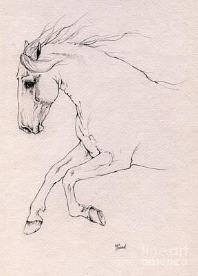 Andalusian Horse Drawing 2015 12 03 Art Print by Angel Tarantella