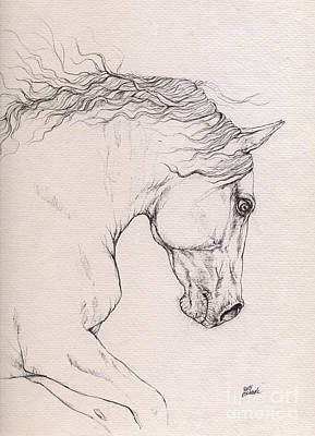 Horses Drawing - Andalusian Horse Drawing 2015 12 08 by Angel Tarantella