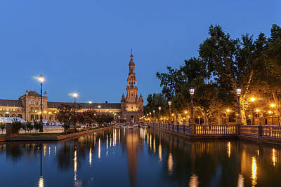Photograph - Andalusian Night Magic - Blue Hour At Plaza De Espana In Seville Spain by Georgia Mizuleva