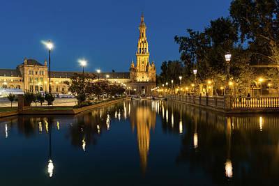 Photograph - Andalusian Night Magic - Soft Reflections At Plaza De Espana In Seville Spain by Georgia Mizuleva