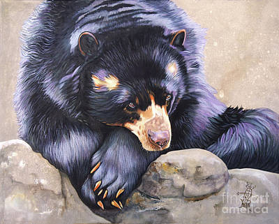 Painting - Andean Bear / Spectacled Bear/ Andean Short-faced Bear by J W Baker