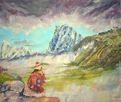 Andean Flautist Art Print