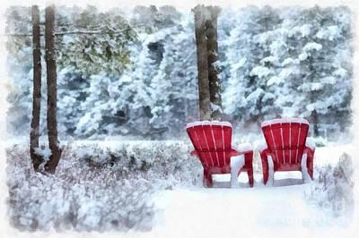Digital Art - Anderson Pond Winter Eastman New Hampshire by Edward Fielding
