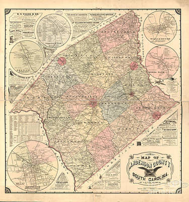 Photograph - Anderson Sc Map by Dale Powell