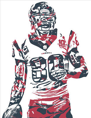 Mixed Media - Andre Johnson Houston Texans Pixel Art 1 by Joe Hamilton