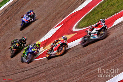 Photograph - Andrea Dovizioso Leads Marquez  Rossi Smith Lorenzo  by Blake Richards