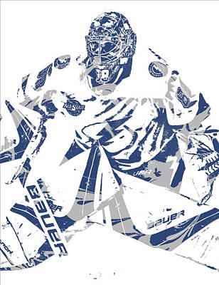 Mixed Media - Andrei Vasilevskiy Tampa Bay Lightning Pixel Art 1 by Joe Hamilton